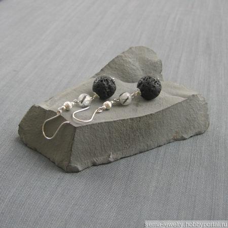 """Серьги """"Alchеmy"""" в серебре с лавой и кварцем ручной работы на заказ"""