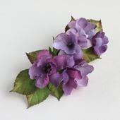 Заколка-автомат лиловые фиолетовые цветы из ткани