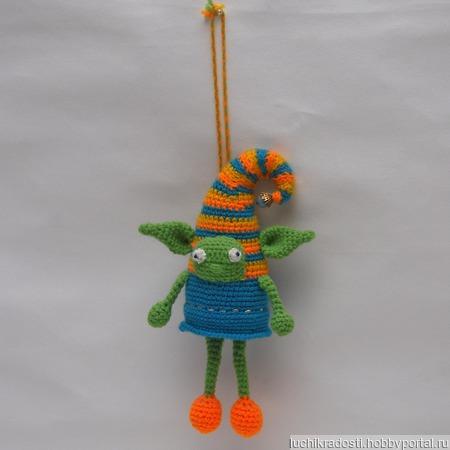 """Вязаная игрушка-подвеска """"Добрый Тролль"""" ручной работы на заказ"""