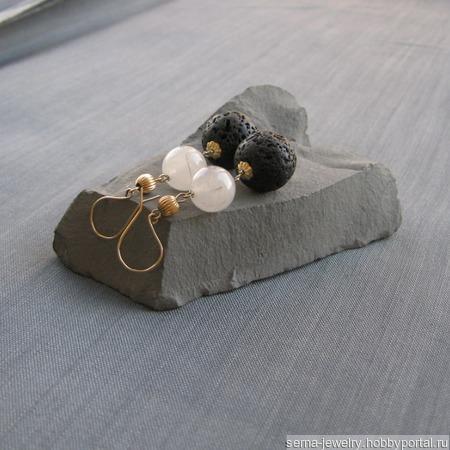 """Серьги """"Alchеmy"""" в позолоте с лавой и кварцем ручной работы на заказ"""
