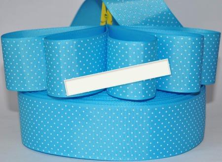 Лента репсовая голубая в белый мелкий горох ручной работы на заказ