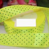 Атласная лимонного цвета в мелкий зелёный горох