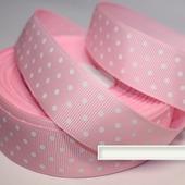Лента репсовая розовая, мелкий белый горох