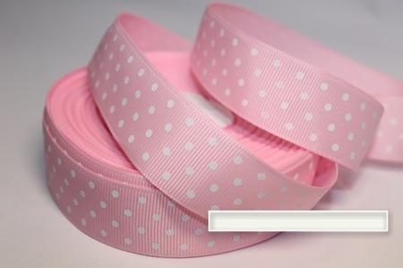 Лента репсовая розовая, мелкий белый горох ручной работы на заказ