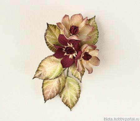 Брошь зажим кремовые бордовые цветы ручной работы на заказ
