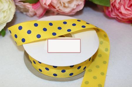 Лента репсовая жёлтая в синий крупный горох ручной работы на заказ