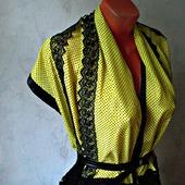 """Желтый палантин ручной работы из ткани """"Черная роза"""" модель 2"""
