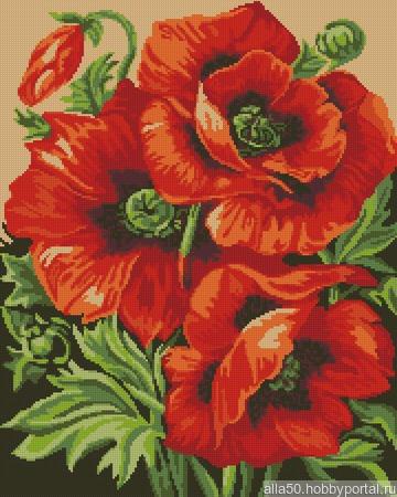 """Схема для вышивания """"Красные маки"""" ручной работы на заказ"""