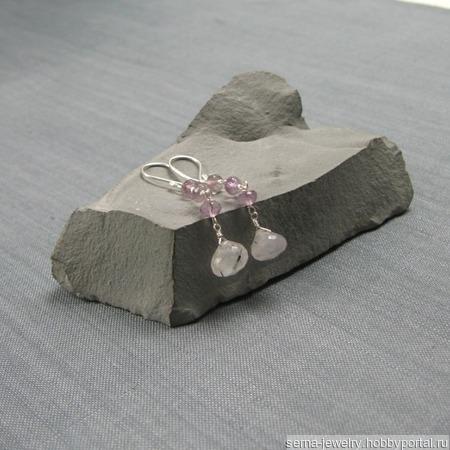 """Серьги """"Eventide"""" из серебра и аметистов и кварца-волосатика ручной работы на заказ"""