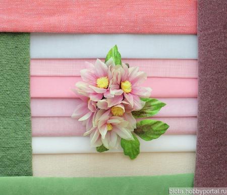 """Нежная светло-розовая брошь """"Мечта"""" с цветами из шелка ручной работы на заказ"""