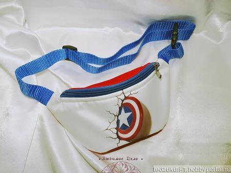 "Сумка на пояс ""Капитан Америка"" ручной работы на заказ"