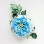 Брошь цветок роза светлая бирюзовая из фоамирана