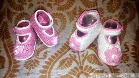 Пинетки-туфельки вязаные ручной работы на заказ