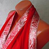 """Красный палантин ручной работы из ткани """"Алая заря"""" модель 4"""