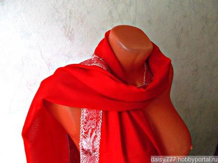 """Красный палантин ручной работы из ткани """"Алая заря"""" модель 4 ручной работы на заказ"""