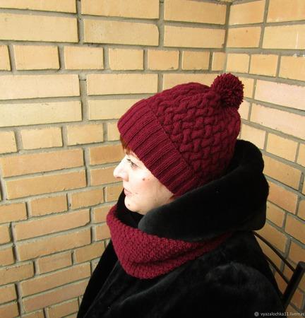 """Комплект шапка и снуд вязаные с узором  """"Бини"""" ручной работы на заказ"""