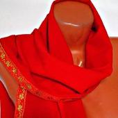 """Красный палантин ручной работы из ткани """"Алая заря"""" модель 2"""