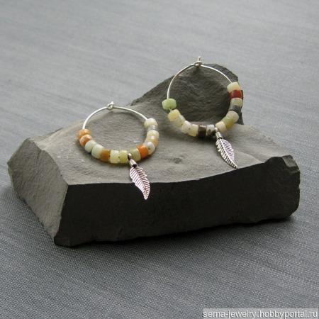 """Серьги-кольца """"In the garden"""" из серебра с яшмой ручной работы на заказ"""