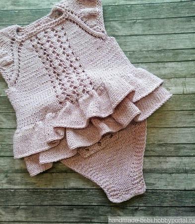 Вязаное боди с юбочкой для девочки ручной работы на заказ