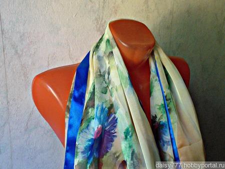 """Голубой шифоновый палантин ручной работы """"Голубые цветы"""" модель 2 ручной работы на заказ"""