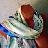 """Голубой шифоновый шарф ручной работы """"Голубые цветы"""" модель 2"""