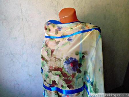 """Палантин ручной работы """"Голубые цветы"""" модель 2 ручной работы на заказ"""