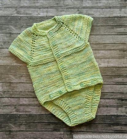 Вязаный боди из хлопка для малыша ручной работы на заказ
