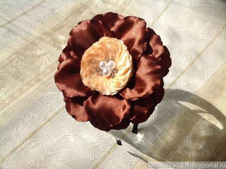 Ободок для волос с цветком канзаши ручной работы на заказ