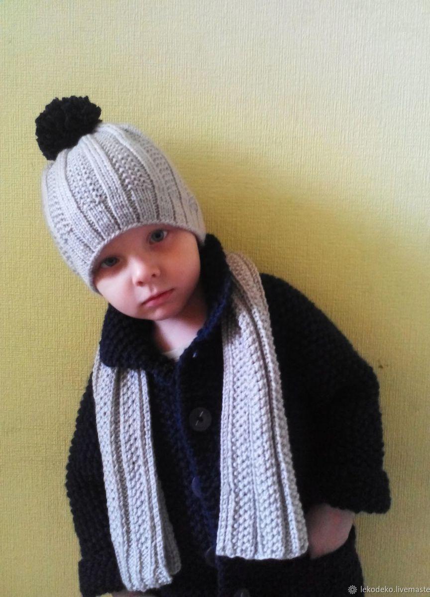 вязаный комплект для мальчика пальто шапка шарф купить в