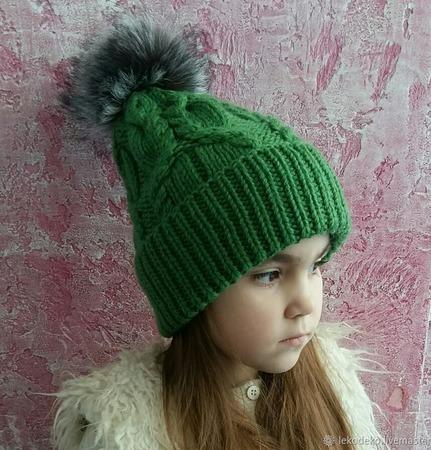 Вязаный комплект для девушки; шапка, платок- бактус, рукавички ручной работы на заказ