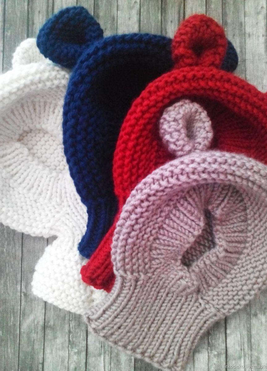 вязаные шапочки шлемики с ушками для малышей купить в интернет