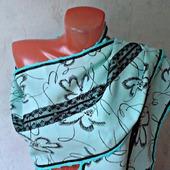 """Бирюзовый палантин ручной работы из ткани со стразами """"Бирюзовые звезды"""""""