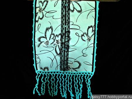 Бирюзовый палантин ручной работы из ткани со стразами Бирюзовые звезды ручной работы на заказ