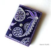 Фиолетовая визитница кожаная точечная роспись