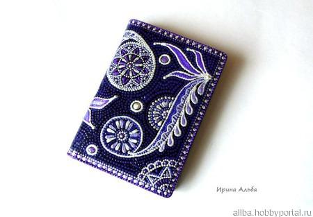 Фиолетовая визитница кожаная точечная роспись ручной работы на заказ