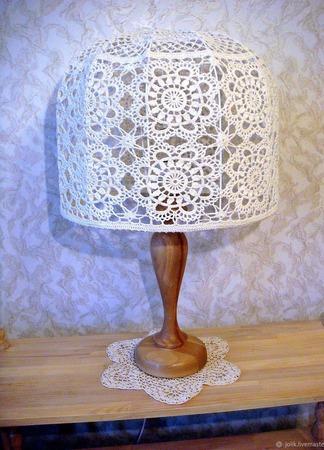 Кружевной абажур для торшера или настольной лампы, вязаный крючком ручной работы на заказ