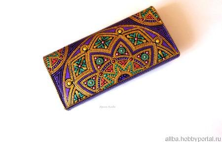 Кошелек женский кожаный точечная роспись ручной работы на заказ