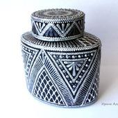 Серебряная баночка для кофе точечная роспись