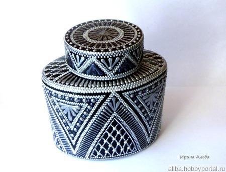 Серебряная баночка для кофе точечная роспись ручной работы на заказ