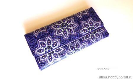 """Фиолетовый кошелек женский """"Цветы"""" точечная роспись ручной работы на заказ"""