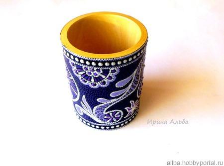 Фиолетовая карандашница точечная роспись ручной работы на заказ
