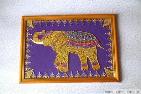 """Панно """"Слон, приносящий удачу"""" точечная роспись ручной работы на заказ"""