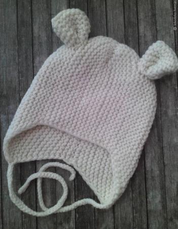 Вязаные Шапочки шлемики с ушками для малышей ручной работы на заказ