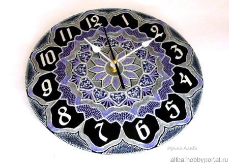 """Часы на пластинке точечная роспись """"Райм"""" ручной работы на заказ"""