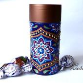 Баночка для кофе точечная роспись