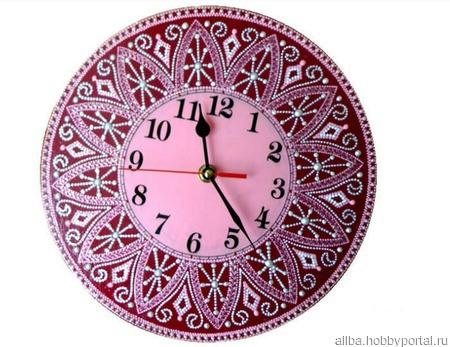 """Часы настенные """"Черешня"""" точечная роспись ручной работы на заказ"""