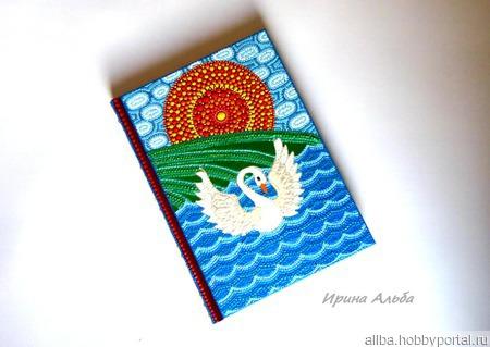 Ежедневник Лебедь точечная роспись ручной работы на заказ