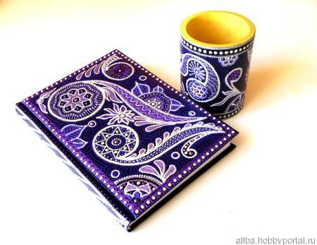 Ежедневник  фиолетовый точечная роспись ручной работы на заказ