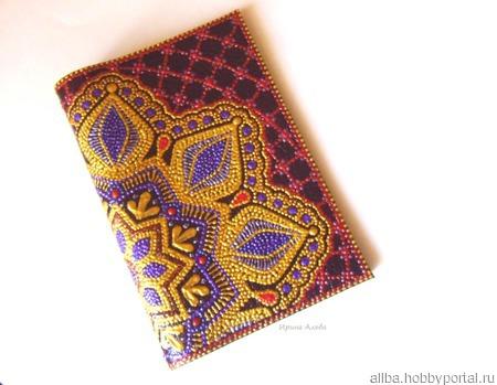 """Обложка на паспорт кожаная """"Альба"""" точечная роспись ручной работы на заказ"""