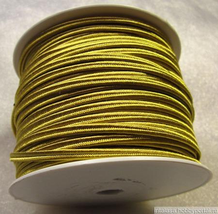 Сутаж греческий, 4 мм, золотисто-горчичный ручной работы на заказ